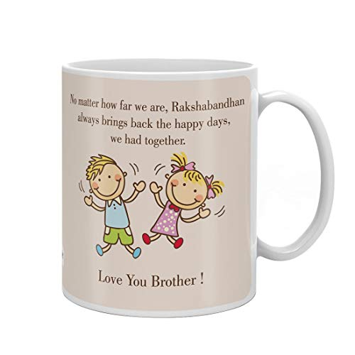 Indigifts Raksha Bandhan Gift Set Of Mug 330 Ml, Crystal Rakhi For Brother, Roli, Chawal & Greeting Card