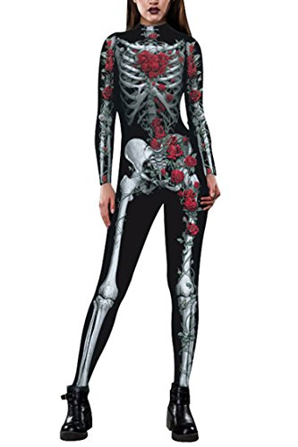 Funcok Womens Horror 3D Skeleton with Rose Onesies Jumpsuits Outfits Clothes Wine Red S