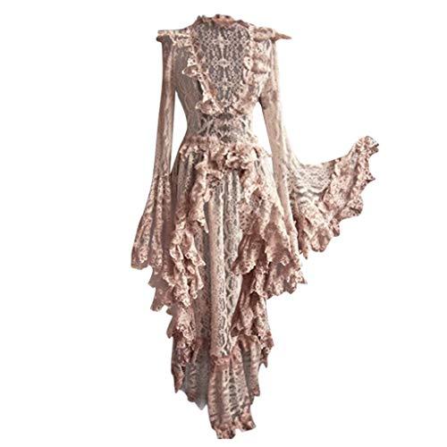 LoveLeiter Damen Schwarz Korsagen Gothic Taille Lang Bluse Mini Korsett kurz Party Steampunk Langarm Mittelalter Unregelmäßig Kleid Gothic Retro Kleid Renaissance Cosplay Kostüm Maxikleid (Beige, L)