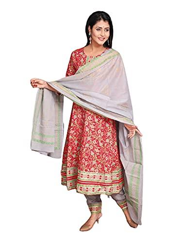 India Mujeres Suave Étnico Impreso Rojo Rayón Anarkali Kurti & Pantalón Dupatta Conjunto Niñas Festivo Kurta 483i - - Large