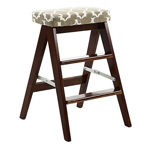 3-Stufen-Holzleiter Faltbare-Küche Haushalt Schritt Hocker Stuhl tragbarer Leiter Stabilität und Sicherheit (Color : Brown)