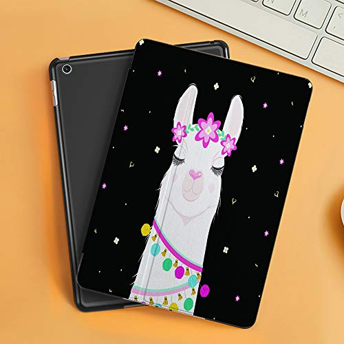 Case for iPad Air 10.2(2019/2018),Cute Cartoon Llama Alpaca Vector Graphic Design Black,Cover with Auto Sleep Wake Feature, Slim Lightweight Stand Protective Case