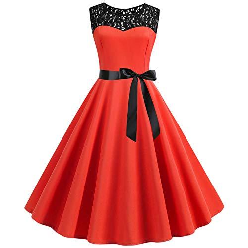 YYH Damen Kleid Ärmel Schaukel Vintage-1950S Cocktailkleid-Partei-Abschlussball-Weihnachtscocktailkleid-Kleid-Rock,Orange,S