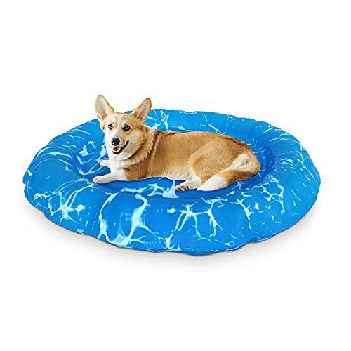 XJD Tappetino refrigerante Cani Gatti Cuccia per Cani per L'estate Letto per Animali Gel non Tossico lavabile robusto autoraffreddamento Diametro 62 cm(ondulazione)