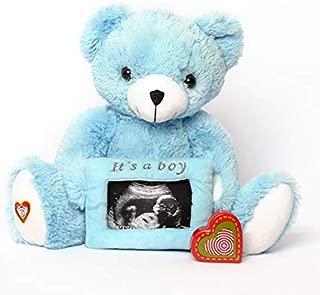 My Baby's Heartbeat Bear - Blue Gender Reveal Teddy Bear Stuffed Animal w/ 20 sec Voice Recorder Heart Sounds Bear - Blue Reveal Bear