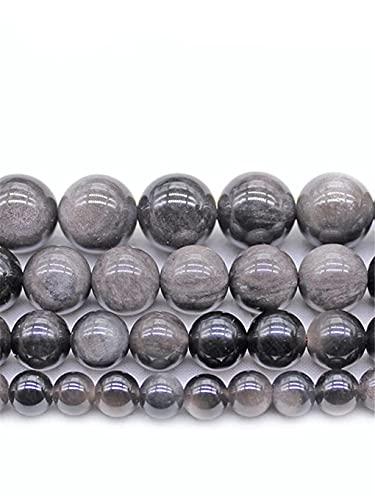 Moulding Color Plateado Natural Obsidian Stone Beads Redondo Espacios de Cadena para joyería Hacienda Espaciador Perlas Sueltas 8/10/12 mm DIY Pulsera Collar Beads