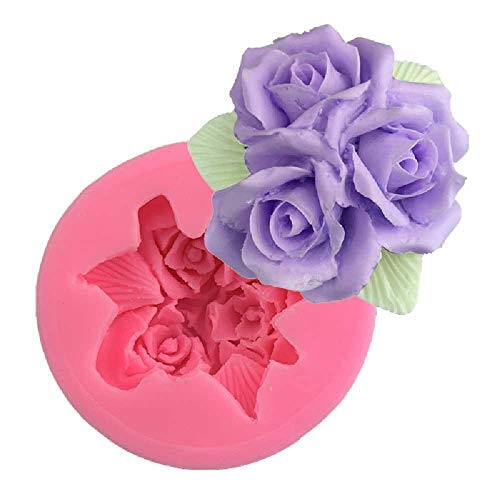 zhtao Große 3 Rose Outlet Form Aromatherapie Auto Parfüm DIY Manuelle Silikonform Kuchen Dekoration Werkzeuge Große 3 Rosenform