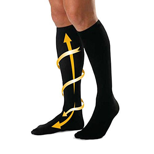 CABEAU Bamboo Compression Socks - Travel/Home, Help Swelling/Blood Flow, Black, Large
