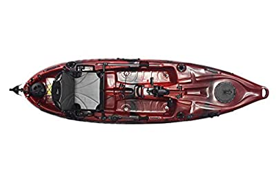 mako10angler Riot Mako 10 Angler Sit-on-Top Kayak with Impulse Pedal Drive, 10', Fire Storm red/Black by Sunny Concord