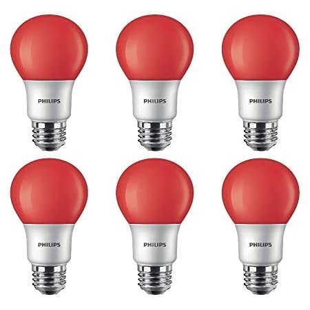 Philips LED 463216 A19 Party Bulbs: 8-Watt (60-Watt Equivalent), E26 Medium Screw Base, Red Light, 6-Pack