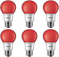Philips LED 463216 60 Watt Equivalent Red A19 LED Light Bulb, 6 Pack, Piece