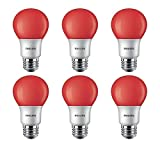 Philips LED 463216 Red 60 Watt Equivalent A19 LED Light Bulb, 6 Pack, 6 Count