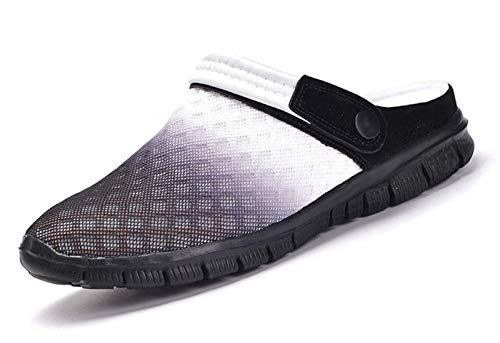 Sandalias de Playa Hombre Mujer,Zuecos de Sanitarios Zapatillas Ligeros Respirable Zapatos Verano,Blanco negro,43