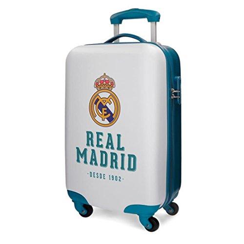 Real Madrid - Equipaje de Mano, 33 Litros, Blanco, 34 cm x 55 cm x 20 cm