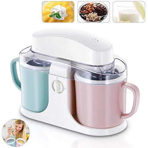 LOISK Eismaschine, Haushalts-kleine automatische Doppelschalen-Sorbet-Maschine, mit Abnehmbarer Schüssel und Mischpaddeln, für hausgemachten gefrorenen Joghurt