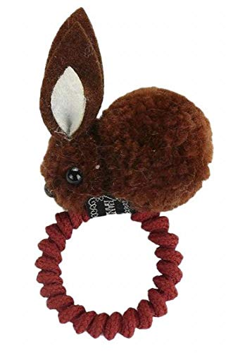 Plus Nao(プラスナオ) ヘアゴム 髪ゴム ヘアクリップ レディース 髪飾り ヘアアクセサリー 髪留め ヘアピン うさぎ ウサギ もこもこ 立体的 - 4ブラウン×ヘアゴム