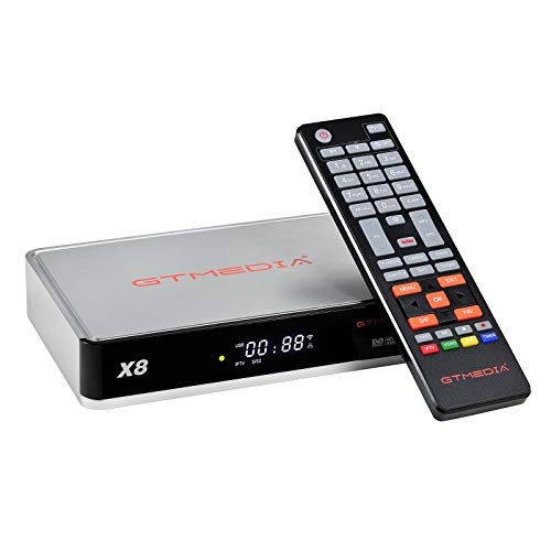 GTMEDIA X8 S2/S2X/DVB-S Decodificador Satélite Receptor de TV Digital con Wi-Fi Incorporado/Ethernet/SCART/Multi-Stream / T2-MI/H.265 HEVC 10bit / 1080P Full HD
