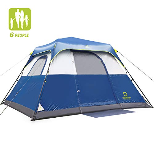 QOMOTOP Tent for Camping, 6 Person Instant Tent Equipped with Rainfly and Carry Bag, Water-Proof Pop up Tent with Electric Cord Acess, Light Weight Cabin Style Tent
