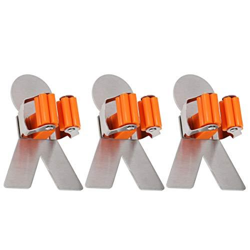 Cabilock - Soporte organizador de escobas para fregona (3 unidades, montaje en pared, con clip de resorte)