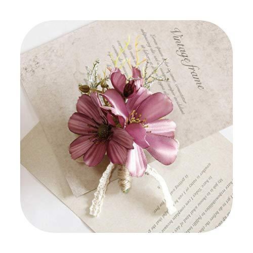 Arte flor nueva rosa púrpura blanco ramillete muñeca flor moda accesorios boda boda novia dama de honor flor pulsera Boutonniere-D-Corsage-
