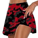 N\P Faldas de golf plisadas de camuflaje de cintura alta para mujer con pantalones cortos, rosso, XXXL