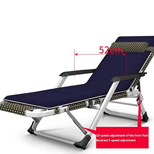 YYTY12 ligstoel, kantelbaar, inklapbaar, armleuning, hoofdsteun, verstelbare rugleuning, katoen, ademend, voor kantoor, vrije tijd, stoel, afmetingen 65 x 85 x 98 H