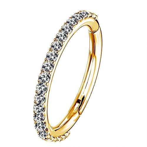 OUFER 16G Rostfreier Stahl Knorpel Ohrringe Fünf Petal Clear CZ Blume Tragus Helix Earrings Knorpel Ohrstecker Gold 8mm
