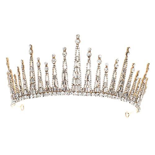 FRCOLOR Corona de Reina Barroca de Cristal Princesa Tiara Vintage Rhinestone Corona...