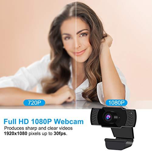 Webcam con micrófono, HD1080P Webcam Streaming Computer Cámara web USB 2.0 PC Laptop Desktop para videollamadas, estudios, conferencias, grabación, juegos. miniatura