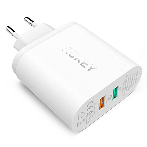 AUKEY Quick Charge 2.0 USB Ladegerät, 2 Ports 30W 2.4A mit PowerAll Technologie für iPhone, Sony, LG, HTC, Nexus usw. (Weiß)