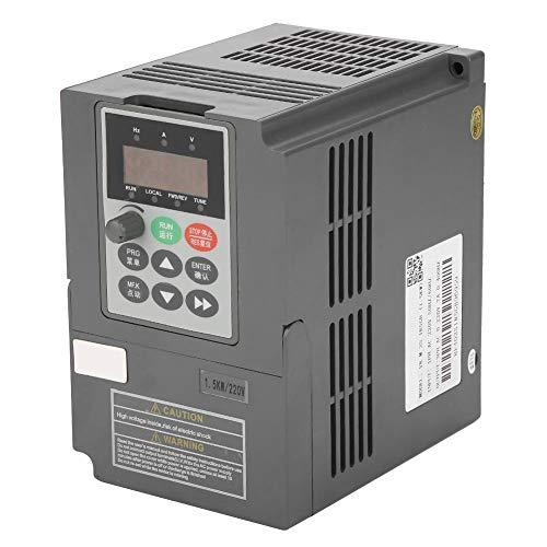 Variateur de Fréquence VFD Convertisseur d'Inverseur de Fréquence de Type Vecteur VFD Monophasé à 3 Phrases 0-220 7A avec Fonction de Contrôle PID intégrée 220V 7A 1.5kW 2HP(1.5kW-Noir)