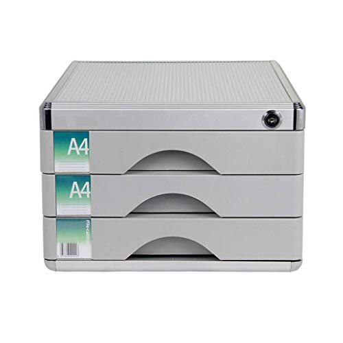 LHQ-HQ Desktop-Fach Sorter, Aluminiumlegierung 3-Schicht-Zeitung Racks Schublade Abschließbare Desktop Schublade Organizer Zeitungsständer