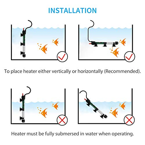Uniclife Aquarium Heater Submersible with Thermometer, 50 Watt for 10 Gallon Fish Tank