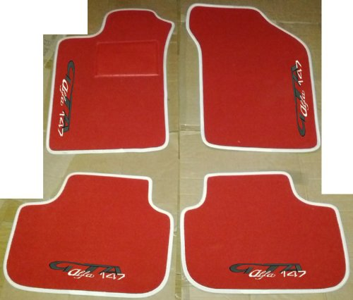 ALFA ROMEO 147 GTA Tapis pour Voiture Rouge avec bord blanc, set complet de tapis en moquette sur mesure, broderies à fil envoi gratuit noir