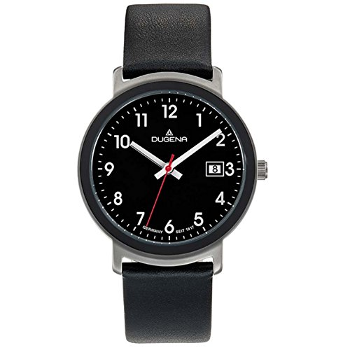 Dugena Herren Armbanduhr Nero Leder 36mm schwarz/silber