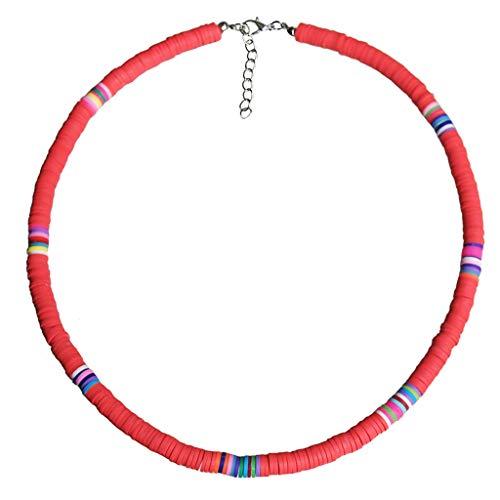 Halskette mit Anhänger (1 Set) Bohemian-Strand-Halskette mit bunten Perlen aus Ton im Boho-Stil, Regenbogen-Polymer-Ton, das perfekte Geschenk für Sie selbst, Familie und Freunde. Korallen-Pulver.