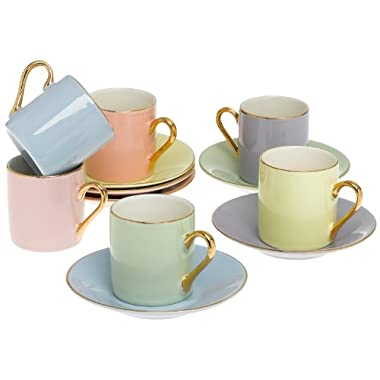 Classic Espresso Coffee Cups & Saucers (Set of 6) by Yedi Houseware|Premium Porcelain In Stylish, Pastel Colors with Gold Plated Rims & Handles for an Authentic, Italian Café Feel|2 ½ oz