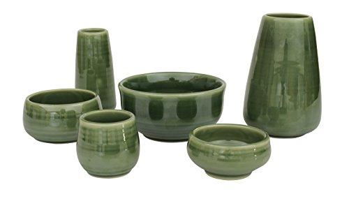 陶器仏具 「もみじ」 6具足セット ミニ仏壇に最適 グリーン