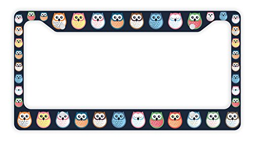 ThisWear Decorative License Plate Frame Owl License Plate Frame Cute License Plate Frame Owl Car Accessories Novelty License Plate Frame Colorful Owls