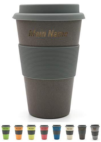 BambooYou Magu personalisierter Coffee to go Becher mit Namen Bambus Namensbecher - Individuelle Namensgravur- Lasergravur 465 - Schiefer
