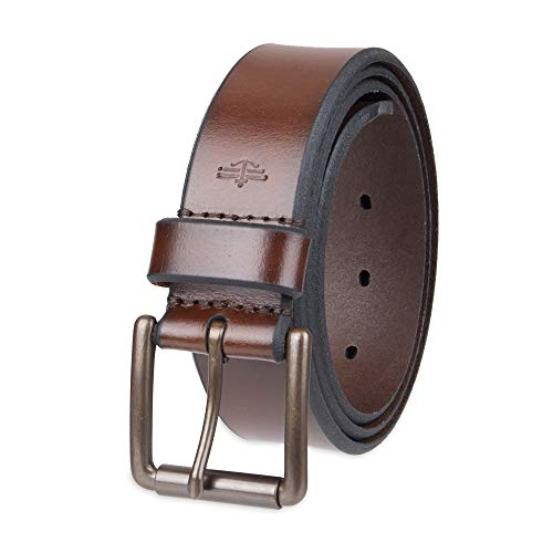 Dockers Men's Casual Leather Belt - 100% Soft Top Grain Genuine Leather Strap with Classic Prong Buckle, Brown,42