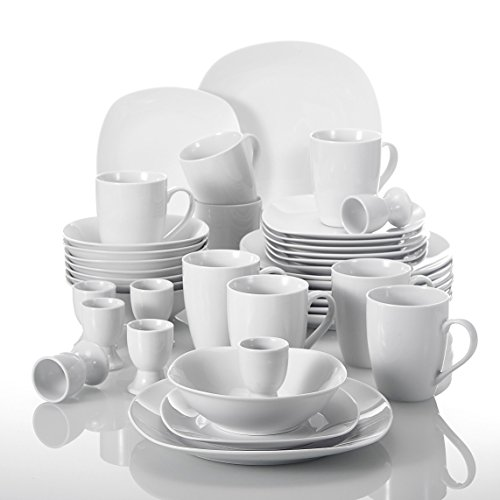 MALACASA, Serie Elisa, 40 teilig Set Porzellan Tafelservice Kombiservice Geschirrset, je 4 Dessertteller, Speiseteller, Müslischalen, Eierbecher, Becher für 8 Personen