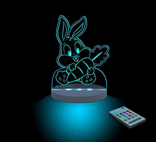 FUNLIGHTS Bebé Bugs Bunny Lámpara Bebé LED Multicolor con Mando. Elige el Color, Intensidad, Temporizador, Arco-iris y ¡mucho más!