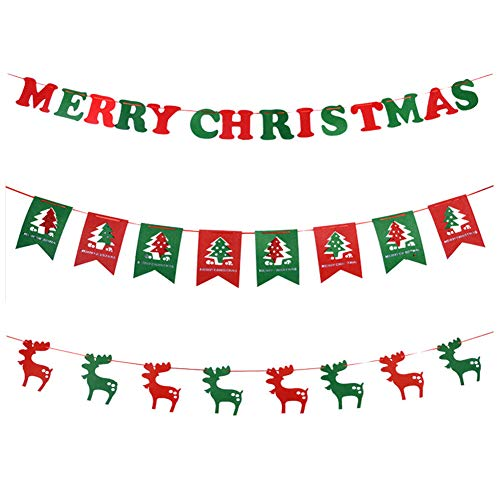 Banner de feliz Navidad 3 piezas Bunting Banner Guirnaldas Banderín Letras de feliz Navidad Elk Bandera colgante para la fiesta de Navidad Decoraciones interiores al aire libre Bandera colgante