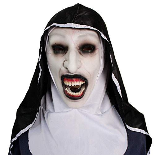 GuoEY Película Halloween The Nun Scary Mask Cosplay Valak máscaras de látex con pañuelo en la Cabeza Casco de Cara Completa Disfraz de Fiesta Fantasma para Adultos