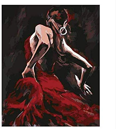 ZAWAGU Bricolaje Pintura Digital Pintura al óleo Regalo Conjunto por números Imagen por números Color para Colorear Amapola por números Mujer Sexy Color por númerossin Marco