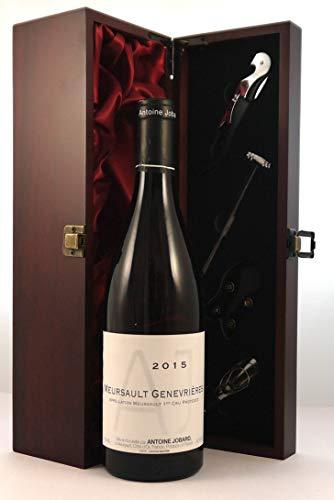 Meursault 1er Cru Genevrières 2015 Domaine Antoine Jobard in einer mit Seide ausgestatetten Geschenkbox, da zu 4 Weinaccessoires, 1 x 750ml
