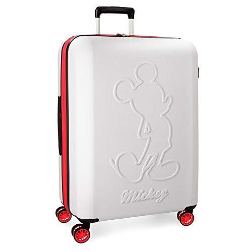 Disney Mickey Colored Maleta grande Blanco 45x68x27 cms Rígida ABS Cierre TSA 77L 4Kgs 4 ruedas dobles Extensible