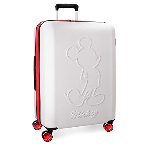 Disney Mickey Colored Maleta grande Blanco 45x68x27 cms Rígida ABS Cierre TSA...