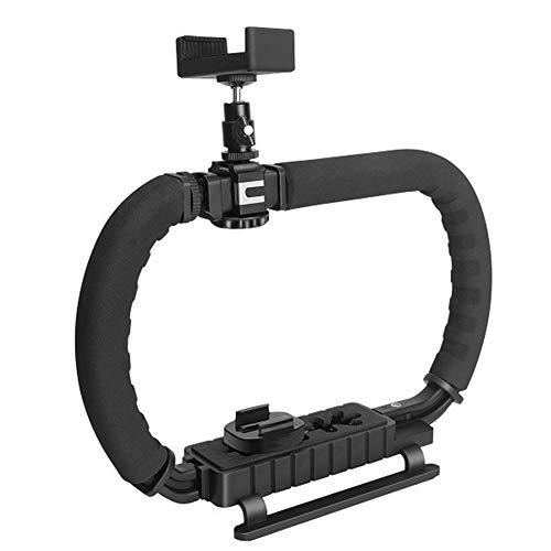 FUQUANDIAN Metallo Triple Hot-Shoe Monti Handheld Telefono stabilizzatore Video d'azione Presa della Maniglia for Canon Nikon Sony DSLR Camera/Camcorder Accessori Staffa (Colour : Double Grip)